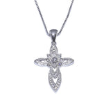 New Fashion CZ Sterling Silver Cross Pendant top view