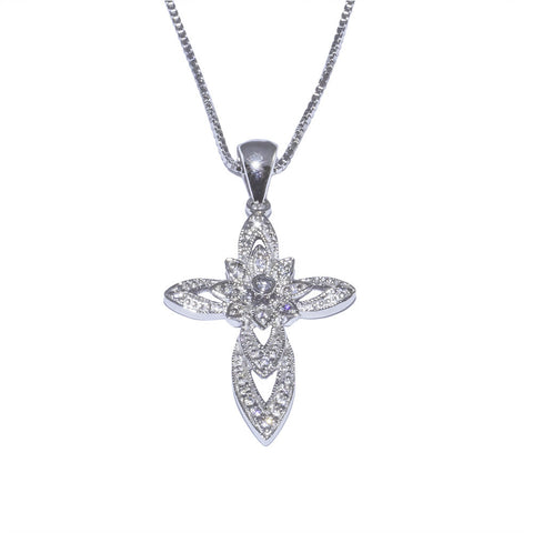 Womens necklaces diamonds sterling silver cross pendants new fashion cz sterling silver cross pendant top view aloadofball Image collections