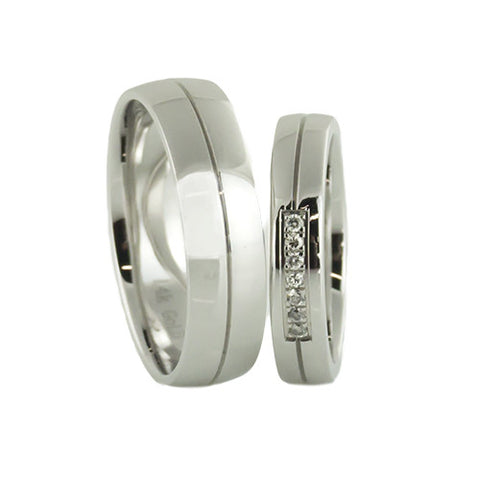 lena style, 14k white gold wedding band set