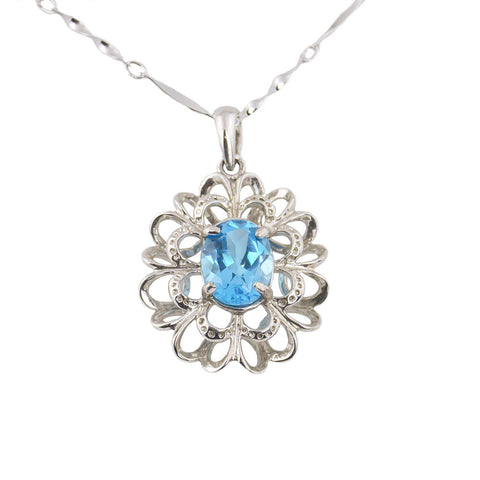 Blue topaz silver necklace