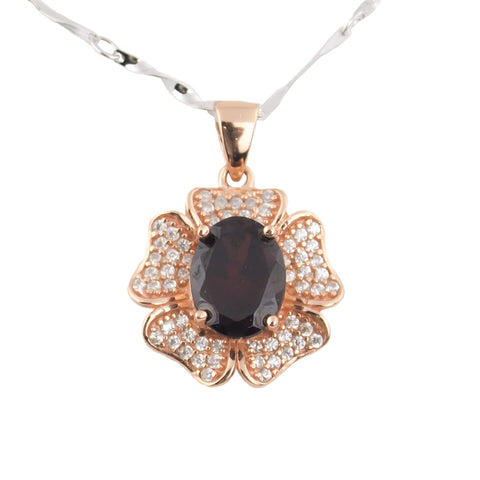 Rose gold gem garnet silver necklace