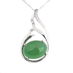 Over jadeite silver necklace