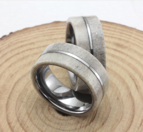 wedding ring deer titanium inlay band and rings mens wood x of inlays antler oak photo marvelous