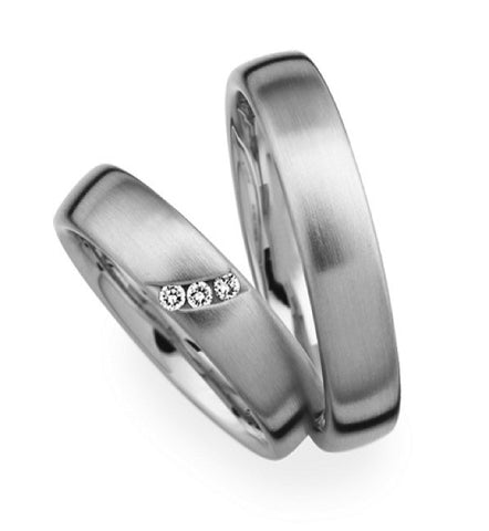 Modern design 14k white gold wedding rings set