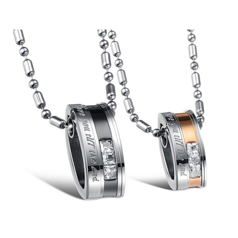 Love Stainless Steel Pendant, Pair Crystal Drill with Necklace