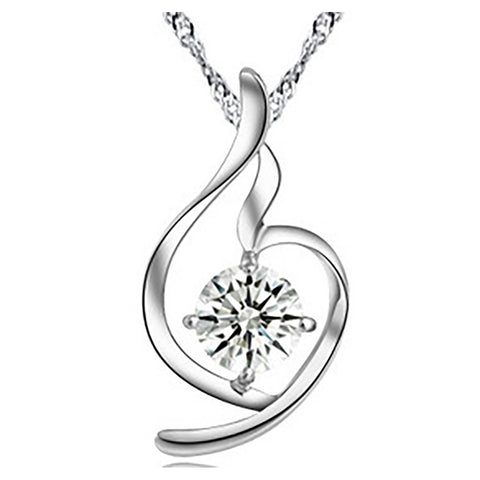 Heart White Zircon Sterling Silver Pendant & necklace top view