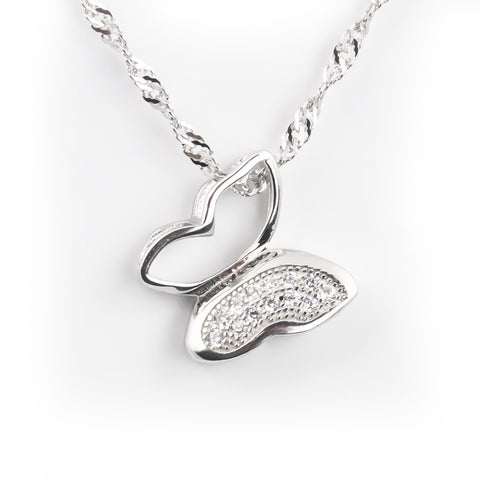 Butterfly silver necklace for women and girls