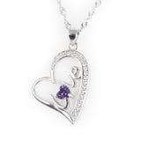 "Art deco ""Love"" craft sterling silver necklace with CZ diamond accent"