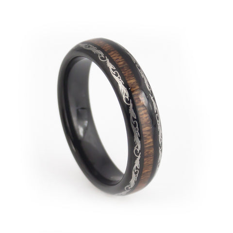 Women Dragon craft wood inlay black tungsten wedding rings Domed 4mm