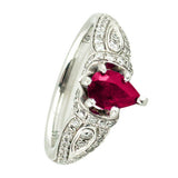 Natural ruby white gold rings