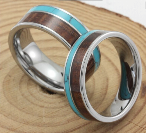 Turquoise hawaii koa inlay tungsten wedding rings sets for Hawaiian wedding ring sets