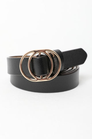 Gold Double ring Skinny Leather Belt