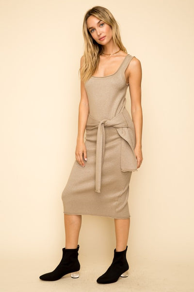 Tie Waist Knit Midi Dress