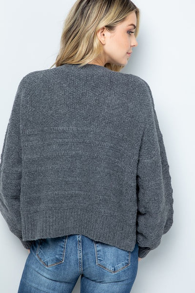 Button Down Cable Knit Cardigan