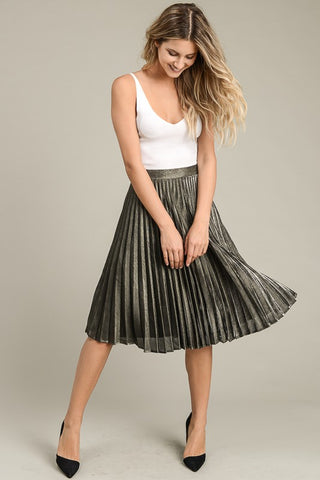 Skirts, Metallic Accordion Midi Skirt, www.SayMoreBoutique.com, Le Lis