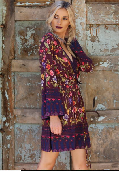 Dresses, Floral Faux Wrap  Dress, www.SayMoreBoutique.com, Angie