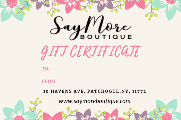 Gift Card, Gift Cards, Say More Boutique, www.SayMoreBoutique.com