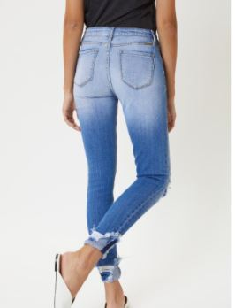 Mid-Rise Distressed Light Wash Skinny Jeans