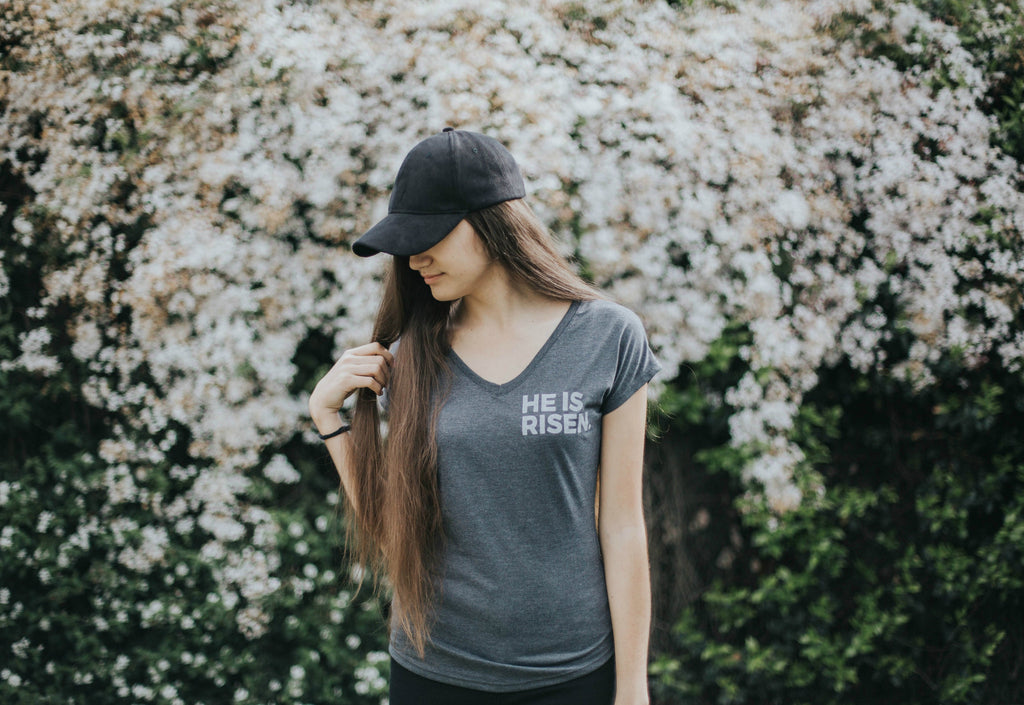 """He is Risen"" Women's V- Neck Tee"