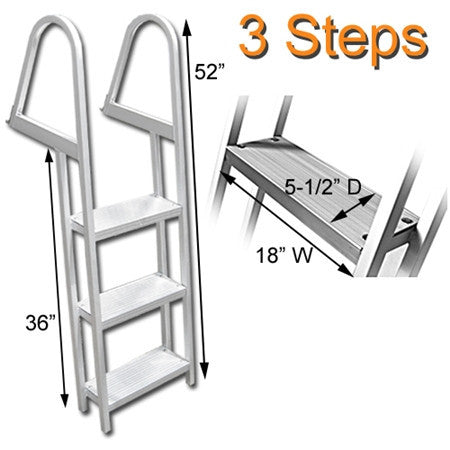 Three Step Angled Aluminum Dock Ladder Dimensions