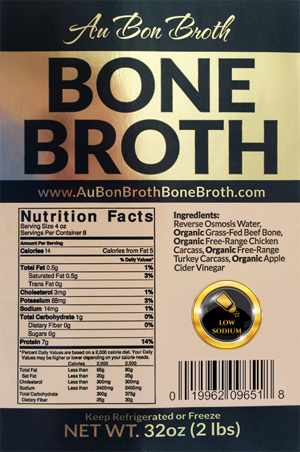 Au Bon Broth Low Sodium Low Salt Bone Broth Label