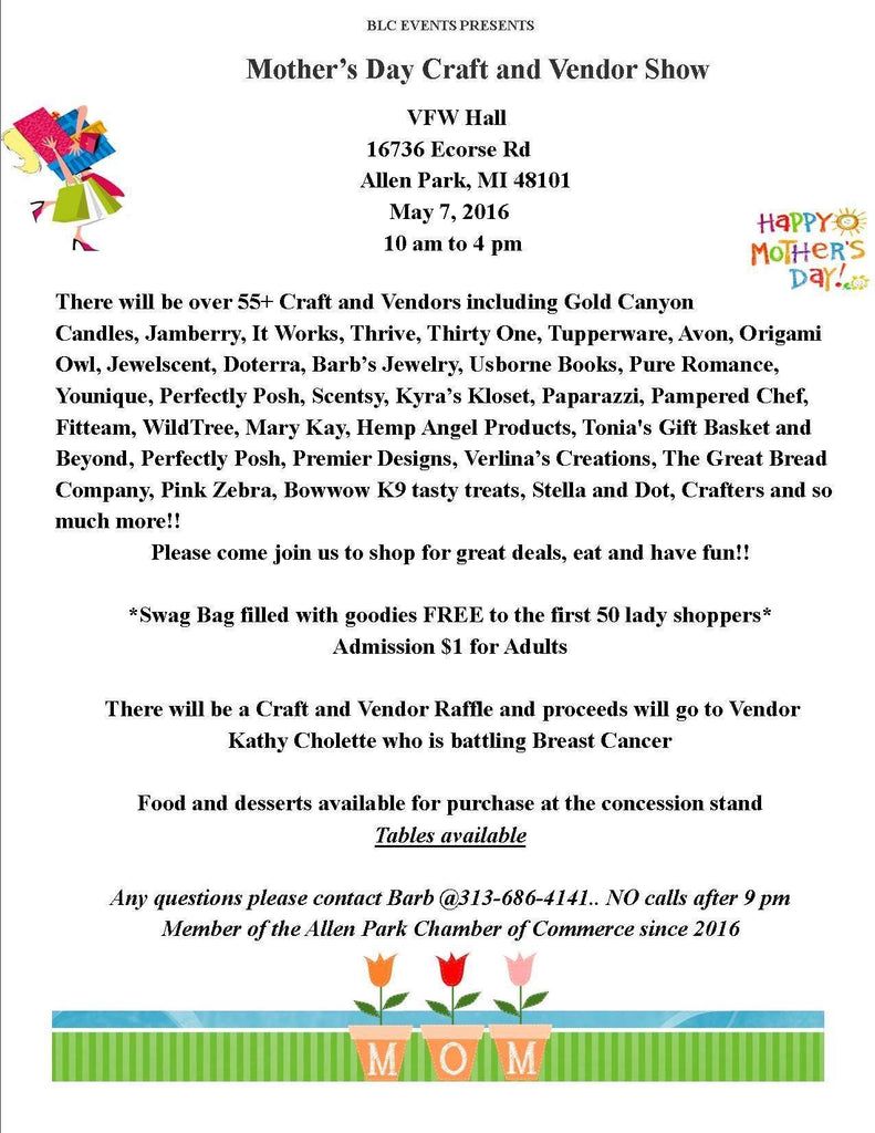 Mother's Day Craft and Vendor Show @ VFW Hall Allen Park, Michigan