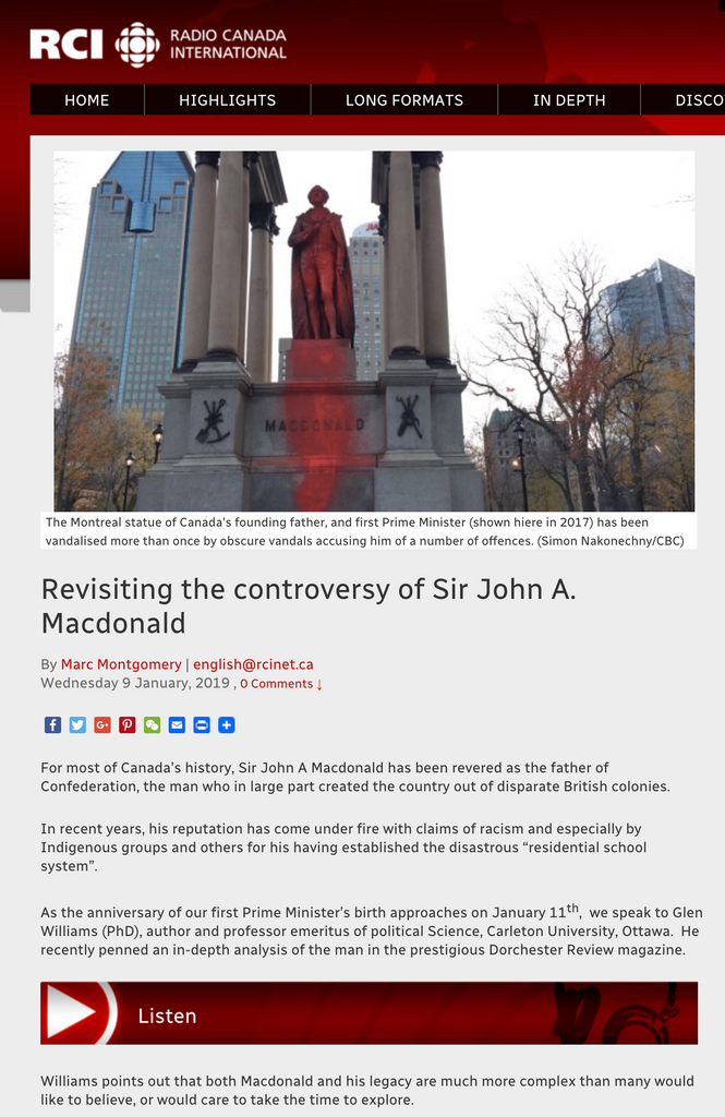 Radio interview: Sir John A.'s reputation is at stake!