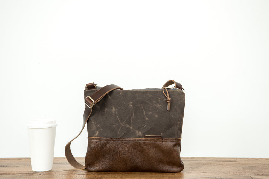 Stitch & Rivet Waxed Canvas/Leather Collection Fold-Over Day Bag