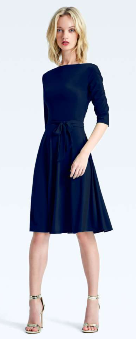 Leota Ilana Navy Crepe Dress