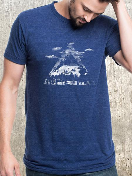 Black Lantern Tri-Blend T-Shirt Mountain Clouds Triangles