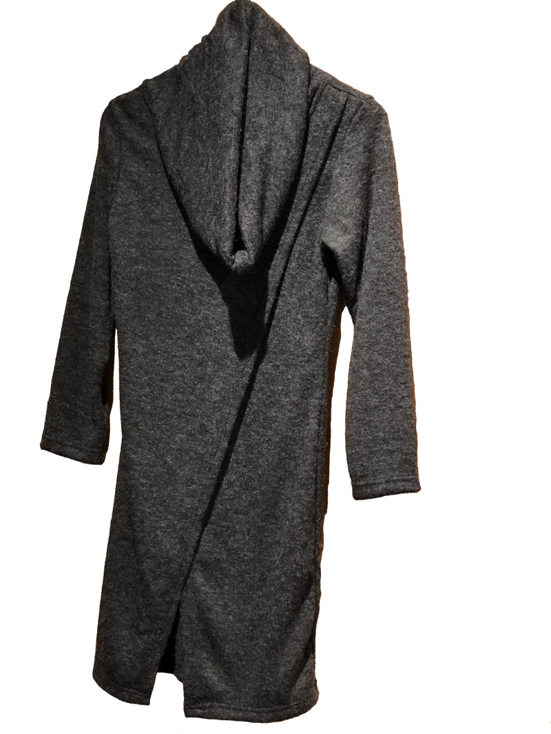 WindHorse Trading Inc. Charcoal Cowl Neck Front Slit Tunic