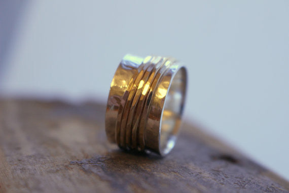 MoodiChic Wide Band Silver Spinner Ring