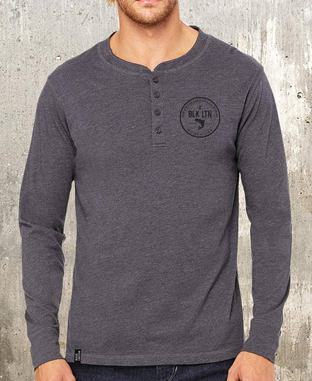 Black Lantern Fishing Long Sleeve Henley Shirt