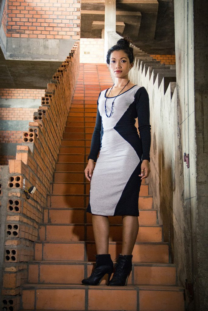 Tonlé Designs Grey and Black Julia Dress