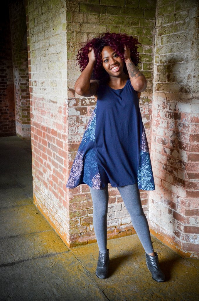 Tonlé Designs Navy with Dots Trapeze  Dress