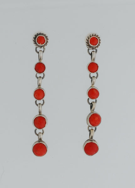 Long Dangle Earrings w/Red Coral by Annie Hoskie
