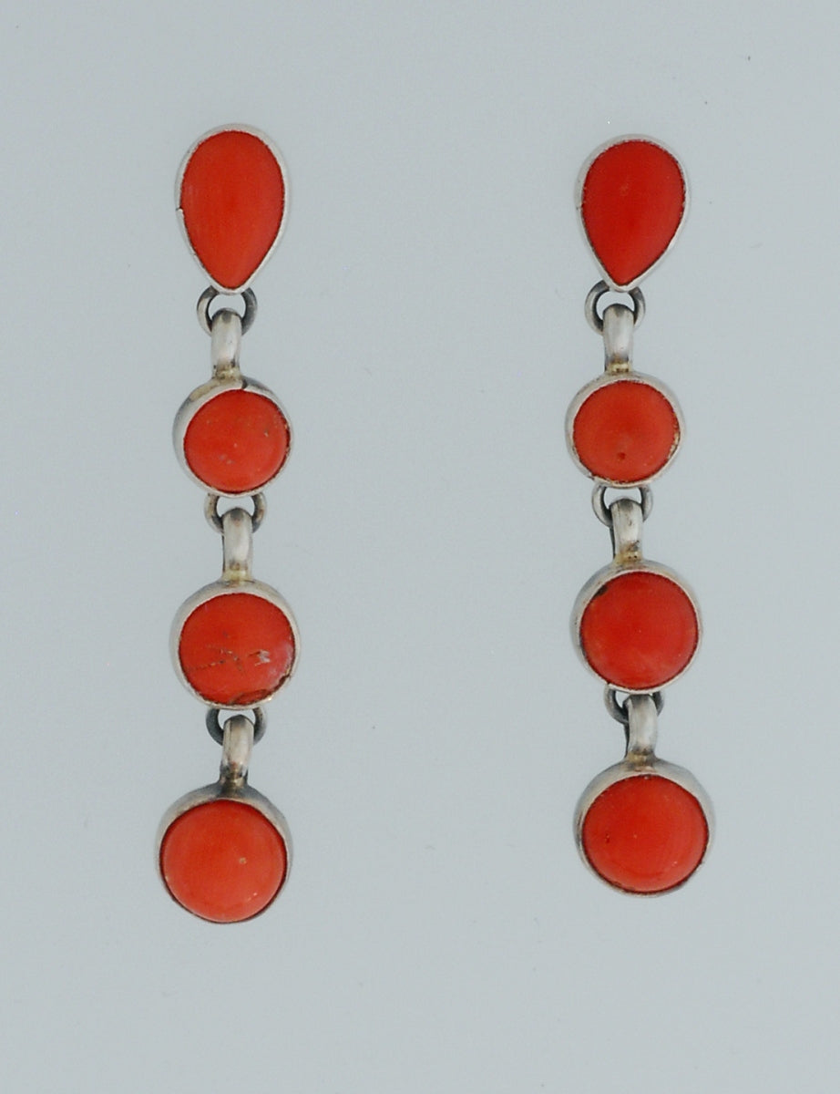 Earrings with Red Coral by Annie Hoskie