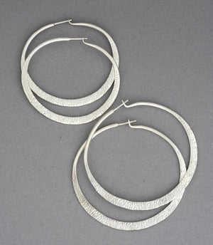 Hammered Hoop Earrings - Medium