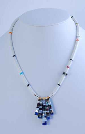 Reversible Pendant on Melon Shell Heishi Necklace by Joe and Charlene Reano