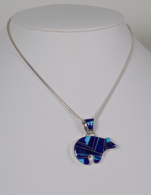 Bear Pendant with Inlays by Cathy Webster
