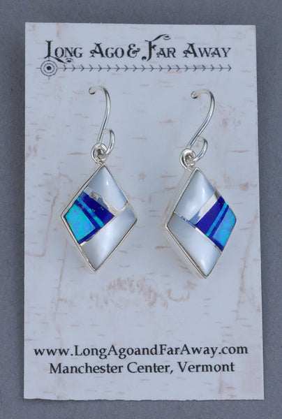 Earrings, Diamond Shape with Inlays by Sheryl Martinez