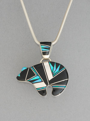 Bear Pendant with Inlay by Cathy Webster