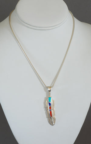 Feather Pendant with Inlay by Kenneth Bitsie