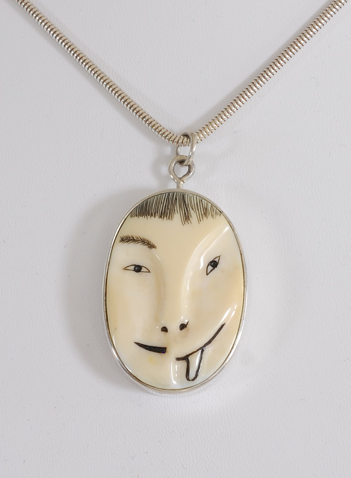 Half-Man Half-Animal Mask Pin/Pendant by Denise Wallace