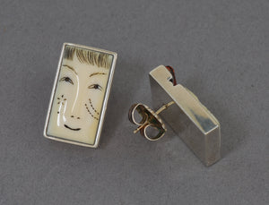 """Ivory Face"" Earrings by Denise Wallace"