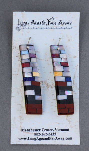 Earrings, Long, Mixed Mosaic on Wires by Charlene & Frank Reano; MOP w/Pipestone