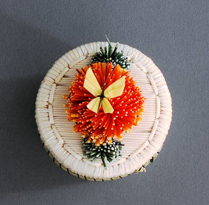 "2"" Tufted Butterfly Quill Box (Orange) by Jeanine Aguonie"