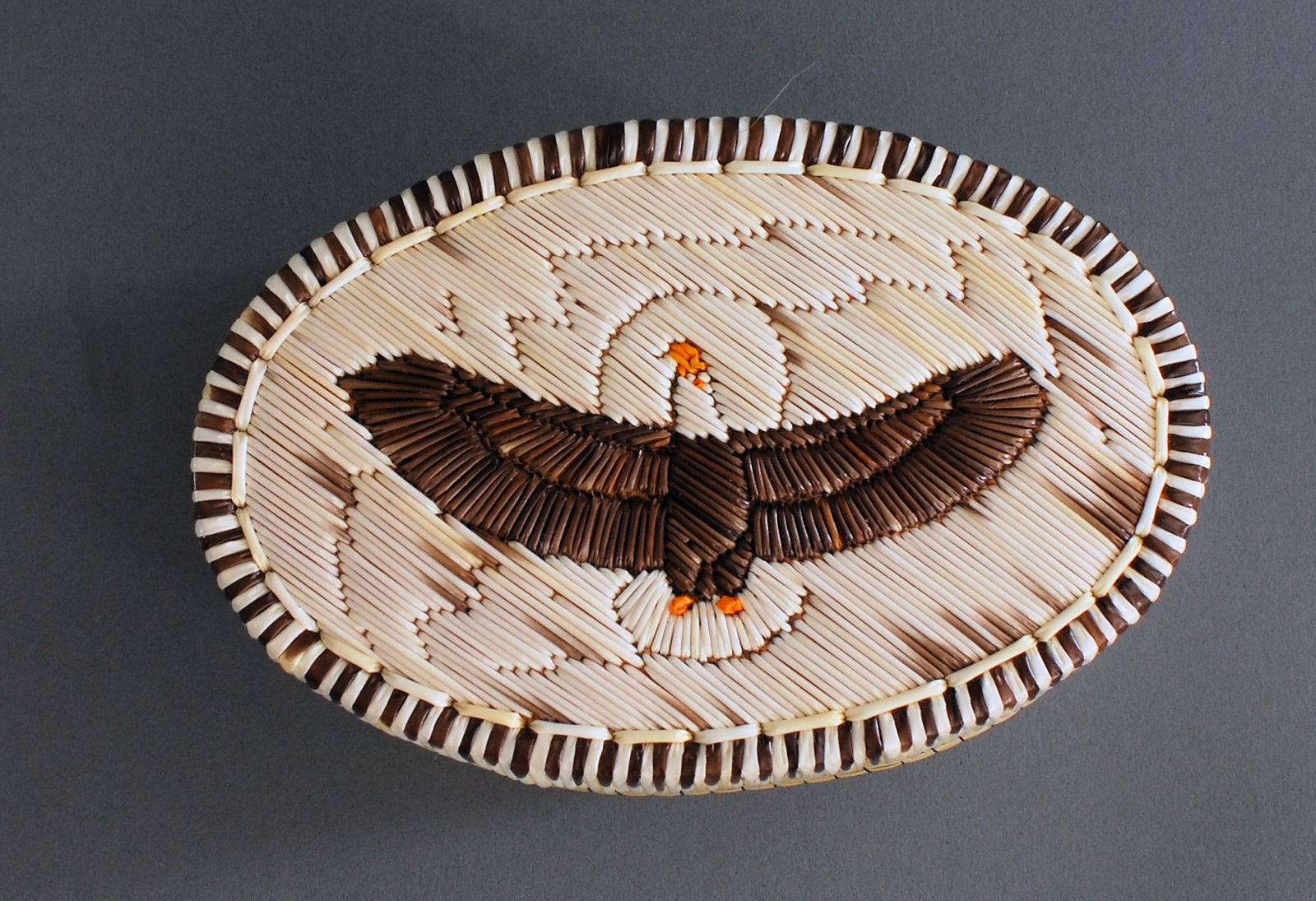"5"" Oval Eagle Quill Box Ron Desmoulin"