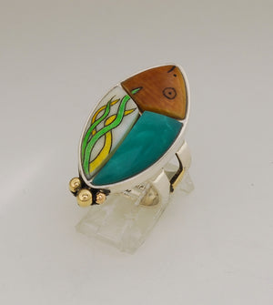 Denise Wallace Halibut with Chrysaprase Ring