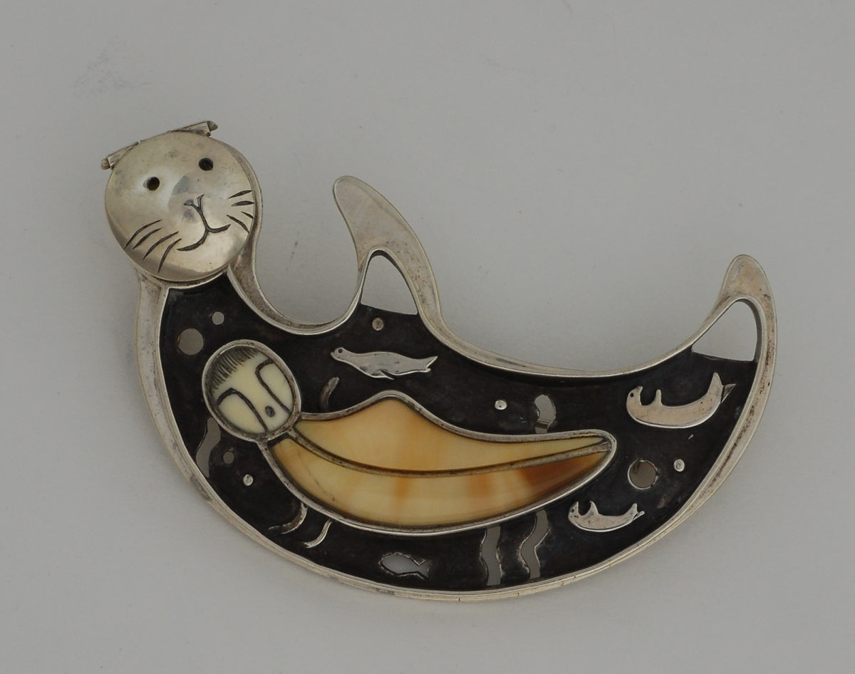 Female Sea Otter Pin or Pendant by Denise Wallace
